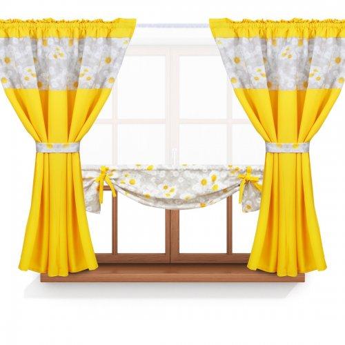 Zasłona GOTOWA BEAUTIFUL DAISY PANEL 398-03-404-05 szary żółty 2 x 145x160 1 x 145x130