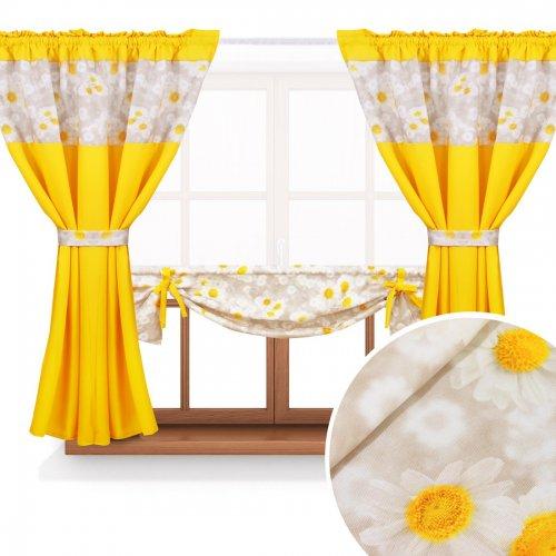 Zasłona GOTOWA BEAUTIFUL DAISY PANEL 398-02-404-05 beż żółty 2 x 145x160 1 x 145x130