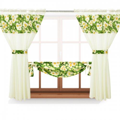 Zasłona GOTOWA BEAUTIFUL DAISY PANEL 398-01-404-02 zielony ecru 2 x 145x160 1 x 145x130