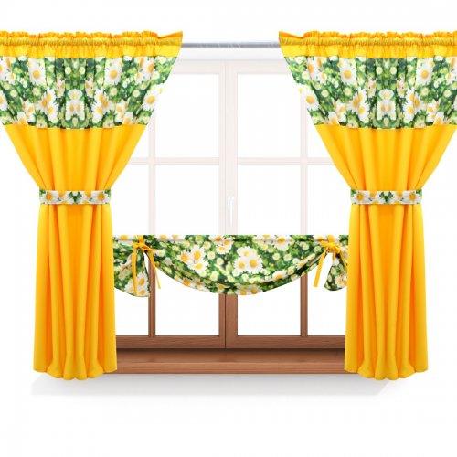 Zasłona GOTOWA BEAUTIFUL DAISY PANEL 398-01-404-05 zielony żółty 2 x 145x160 1 x 145x130