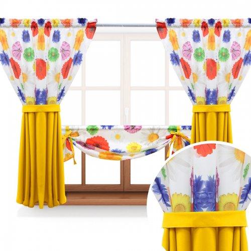 Zasłona GOTOWA GERBER PASSION PANEL 397-03-404-05 kolorowy żółty 2 x 145x160 1 x 145x130