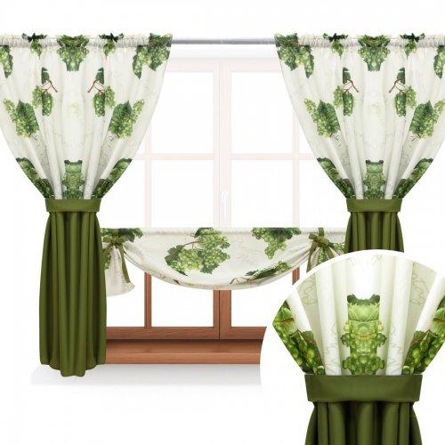 Zasłona GOTOWA GRAPES PANEL 688-02-404-22 zielony oliwka ciemny 2 x 145x160 1 x 145x130